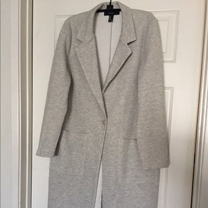 Forever 21 Gray Longline Cotton Blazer in Size M